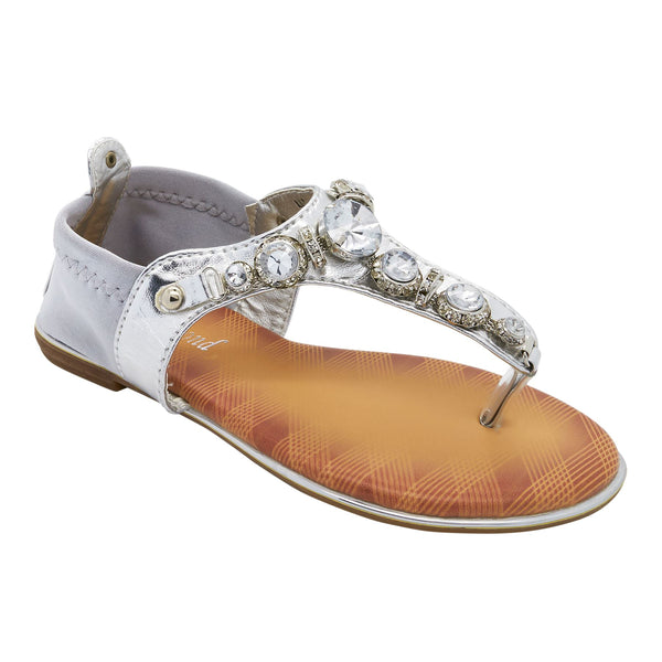 Silver Jewelled T-Bar Flat Sandals