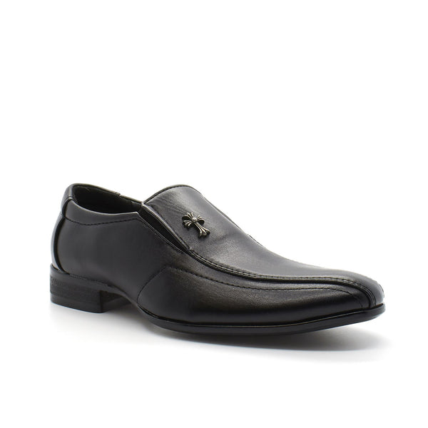 Black Cross Pointed Toe Slip On