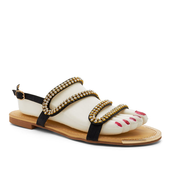 Black Strappy Embellished Flat Sandals