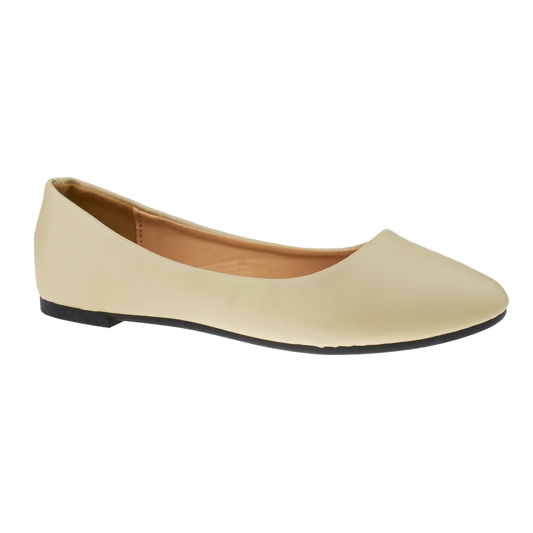 Apricot Faux Leather Ballet Flats