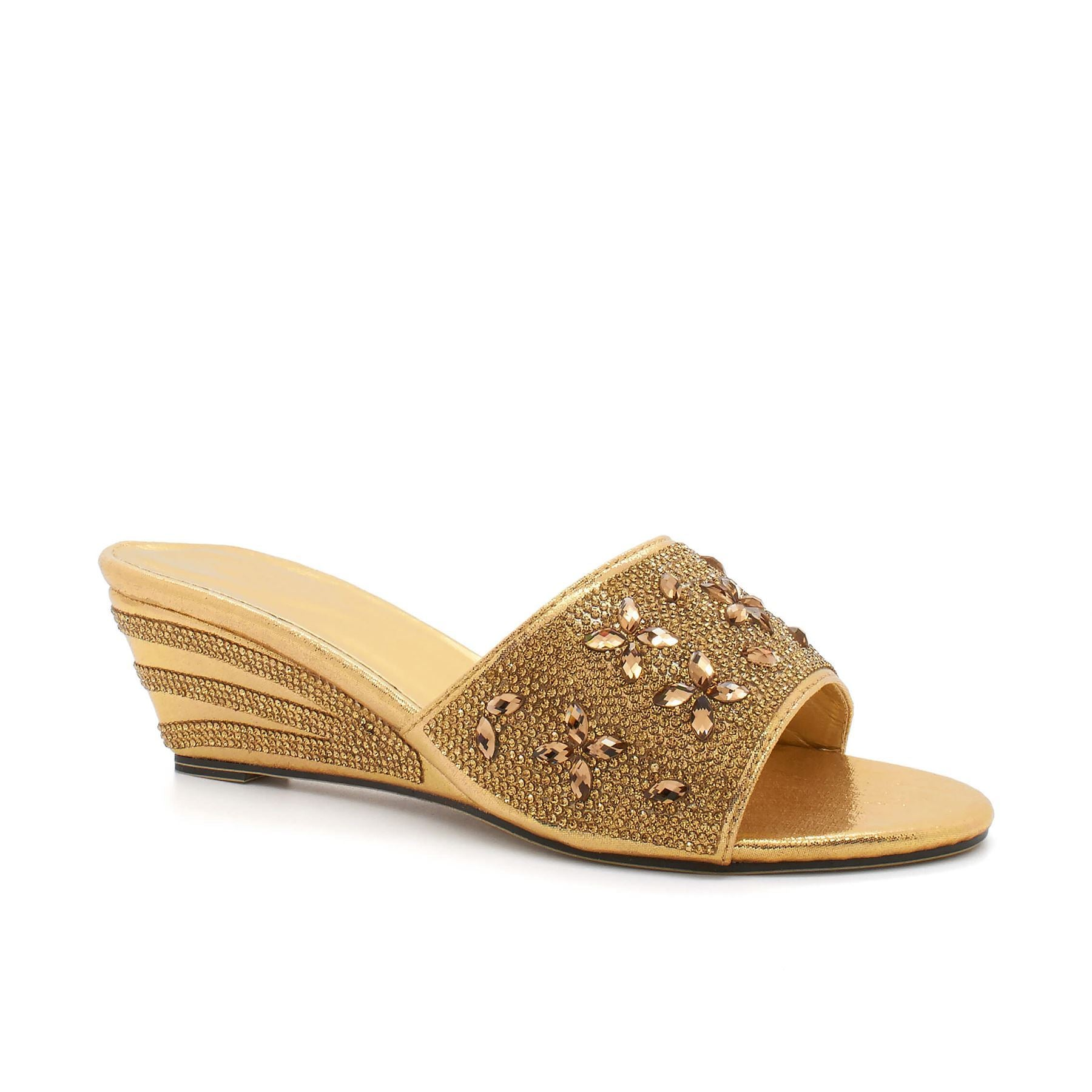Gold Diamante Floral Strap Wedge
