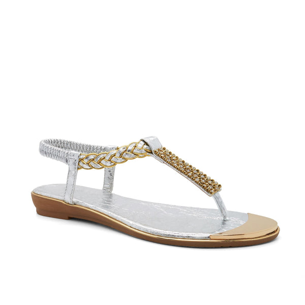 Silver Embellished T-Bar Flat Sandals