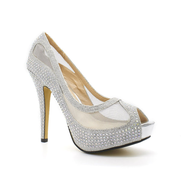 Silver Diamante Mesh High Heel