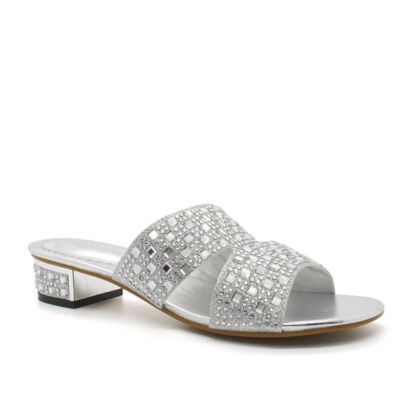 Silver Diamante Open Toe Block Heel