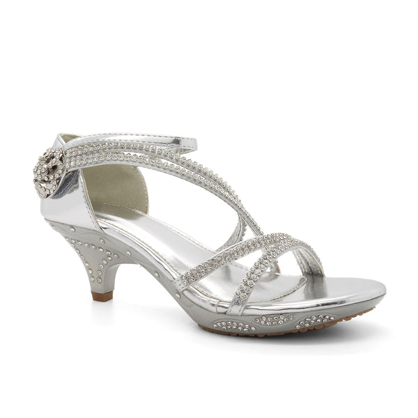 Silver Strappy Embellished Heeled Sandals