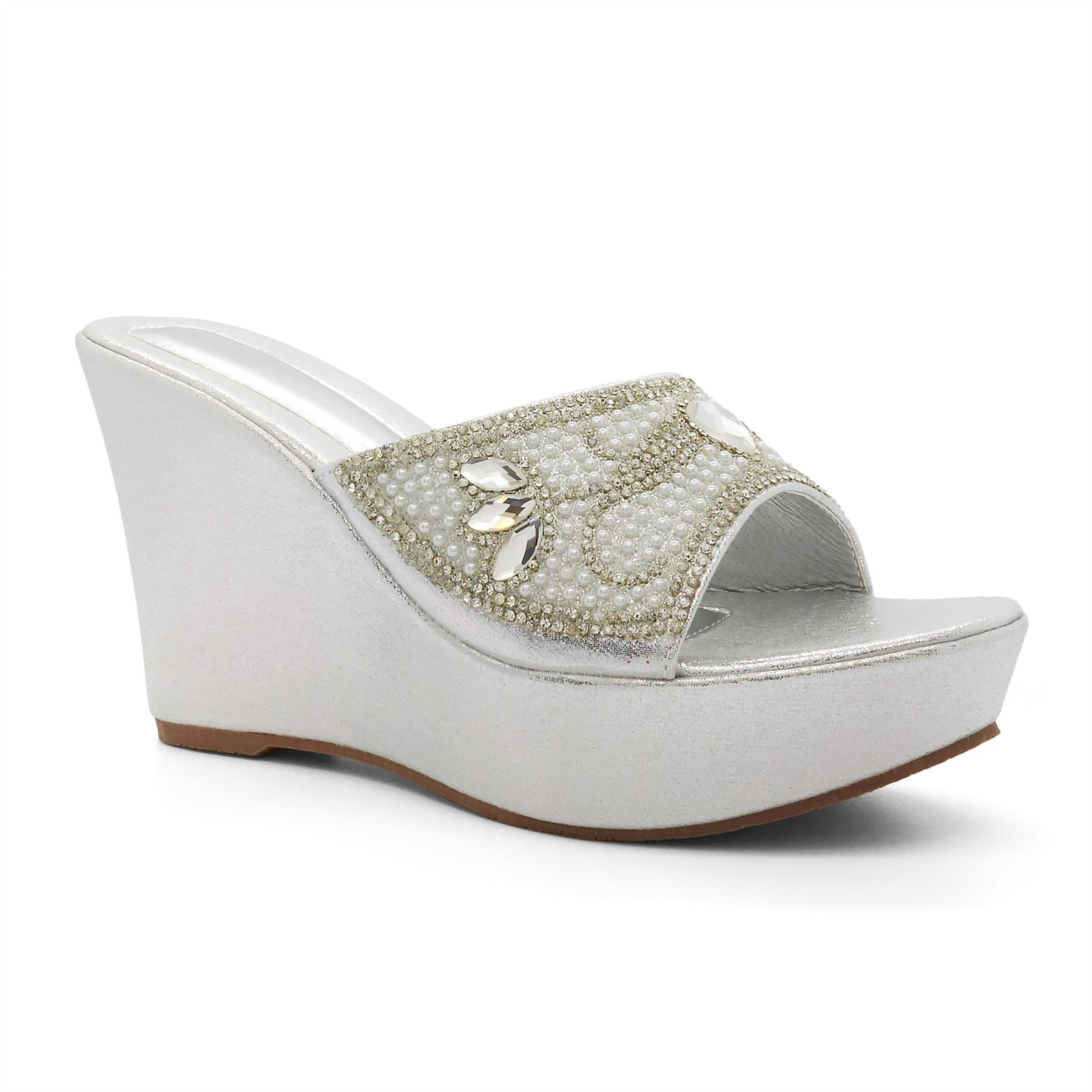 Silver Diamante Jewelled Wedge Heel