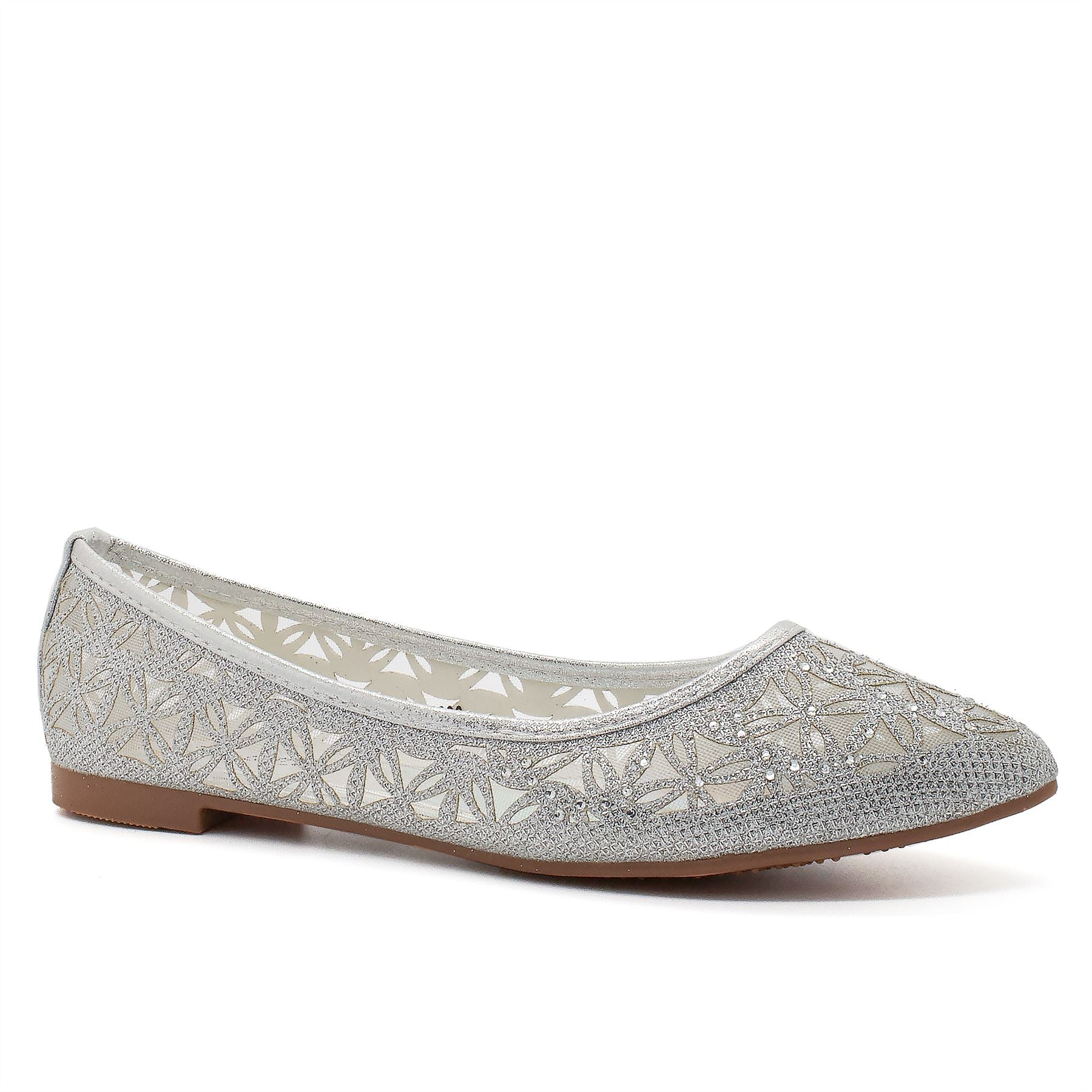 Silver Pointed Toe Ballet Flats