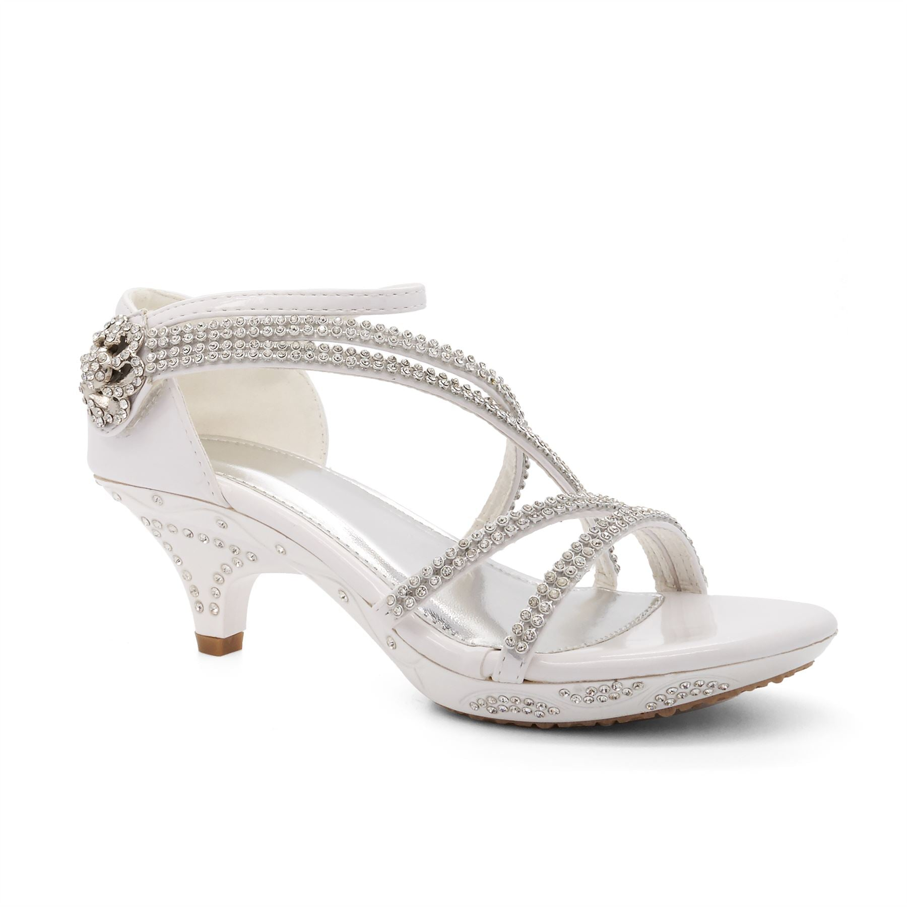 White Strappy Embellished Heeled Sandals