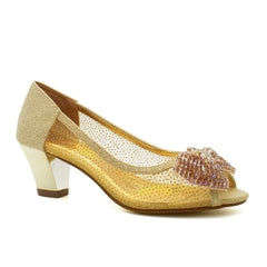 Gold Diamante Heeled Court Shoes