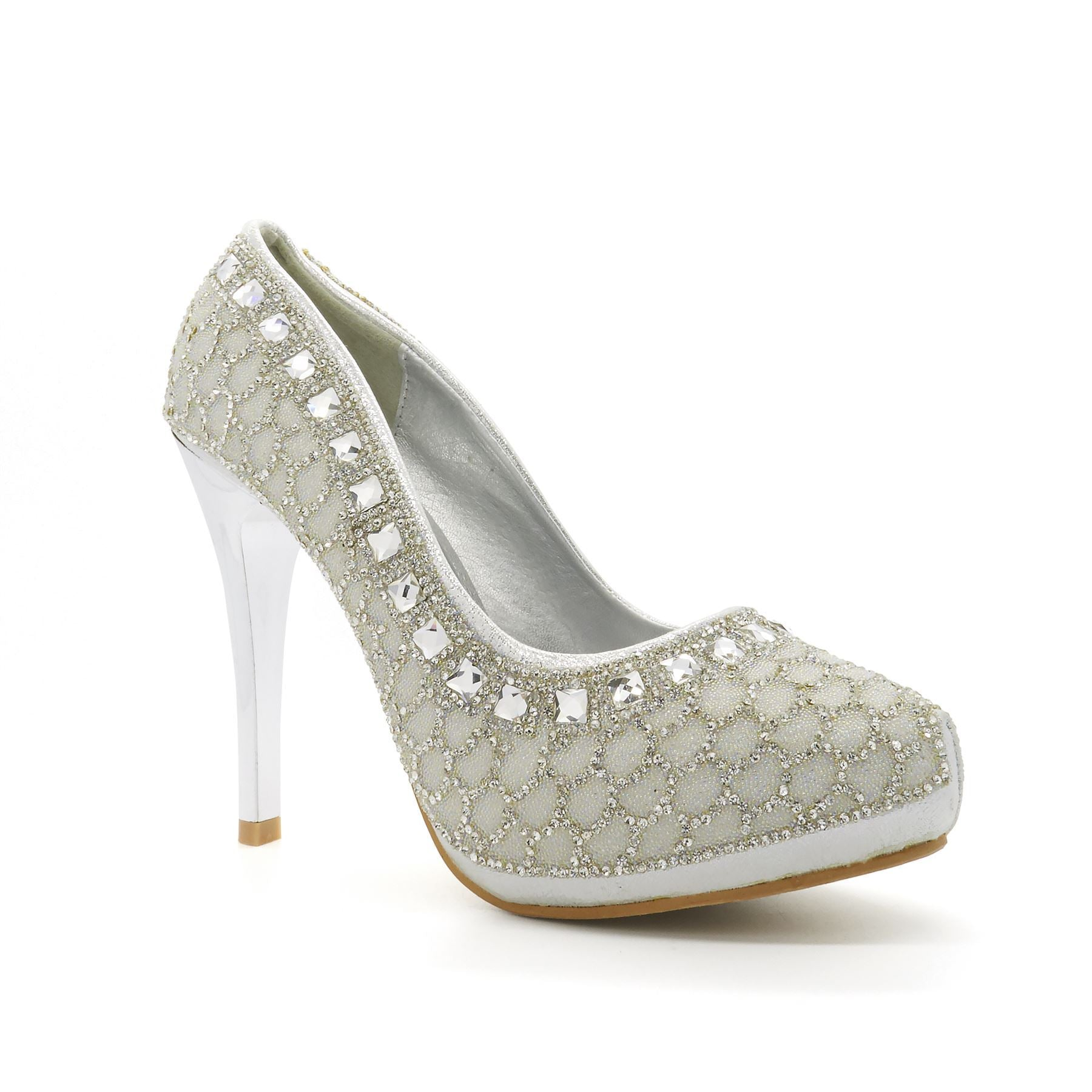 Silver Diamante Beaded  Stiletto Heel