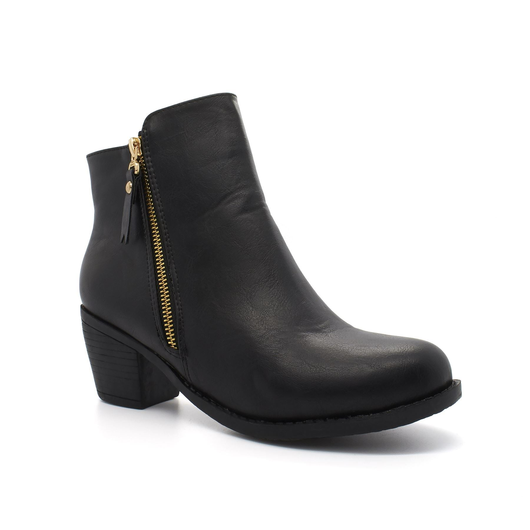 Black Zip Tassel Block Heel Chelsea Boot
