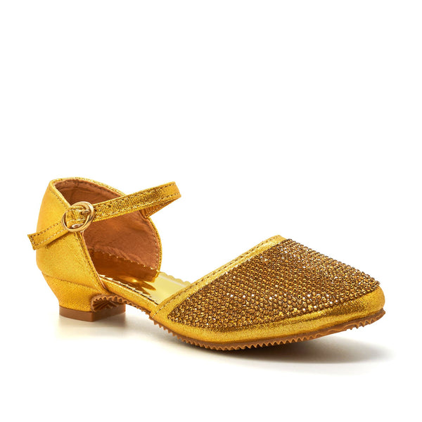 Gold Metallic Diamante Mary Janes