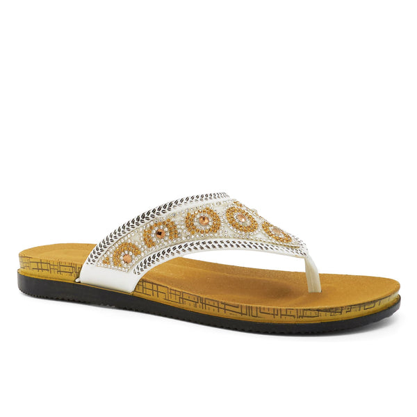 White Diamante Flip Flops