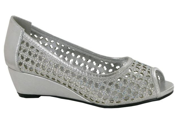 Silver Laser Cut Wedge Heeled Court Shoes