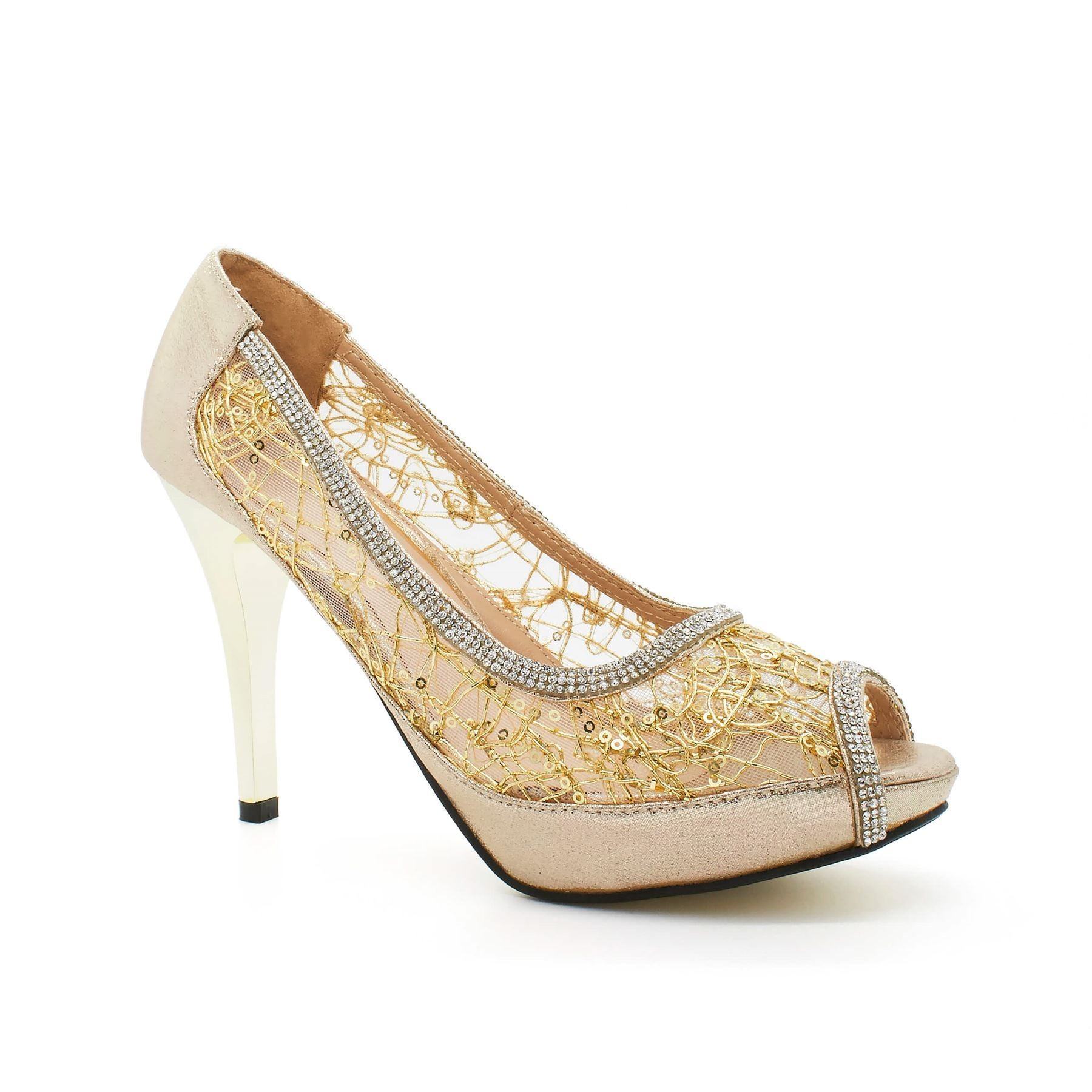 Gold Sequin Mesh Peep Toe Court