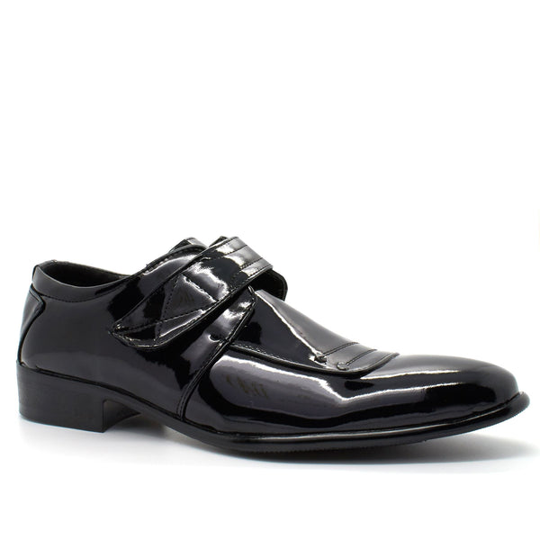 Black Patent Hook & Loop Shoes