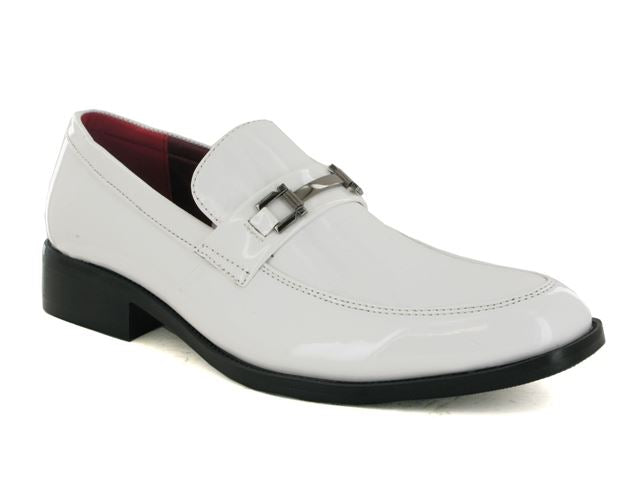 White Patent Buckle Slip On Shoes