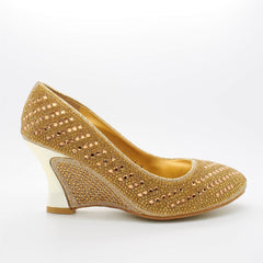 Gold Diamante Almond Toe Wedge