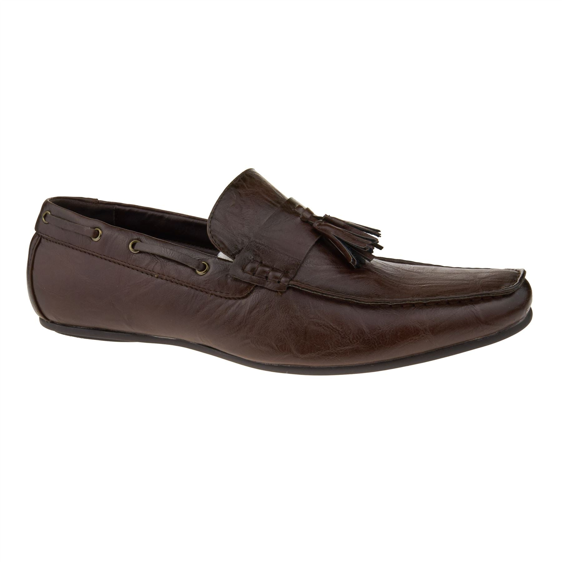 Brown Faux Leather Tassel Loafers