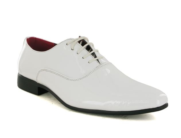 White Patent Pointed Oxford Shoes