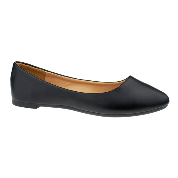 Black Faux Leather Ballet Flats