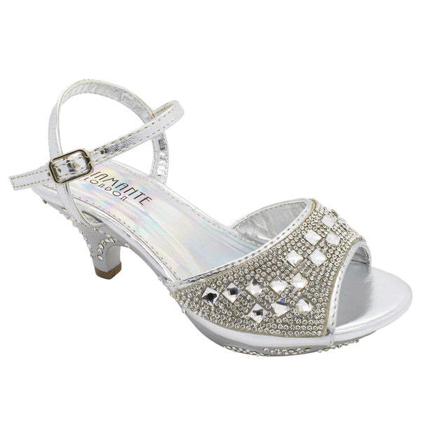 Silver Diamante Kitten Heeled Sandals