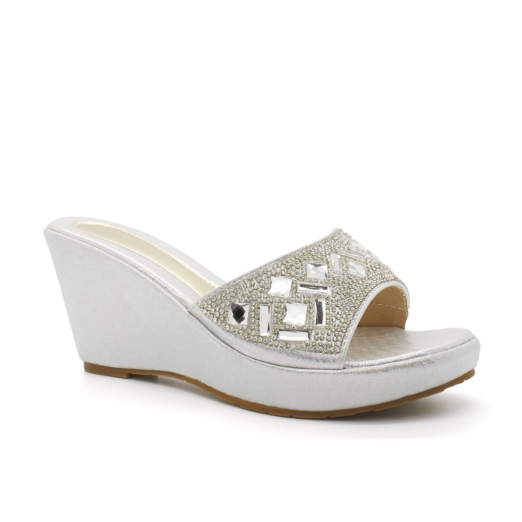 Silver Diamante Strap Platform Wedge