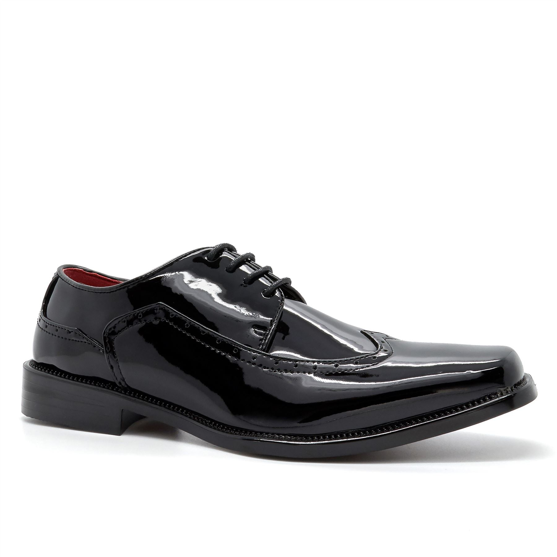 Black Lace Up Wingtip Derby Shoes