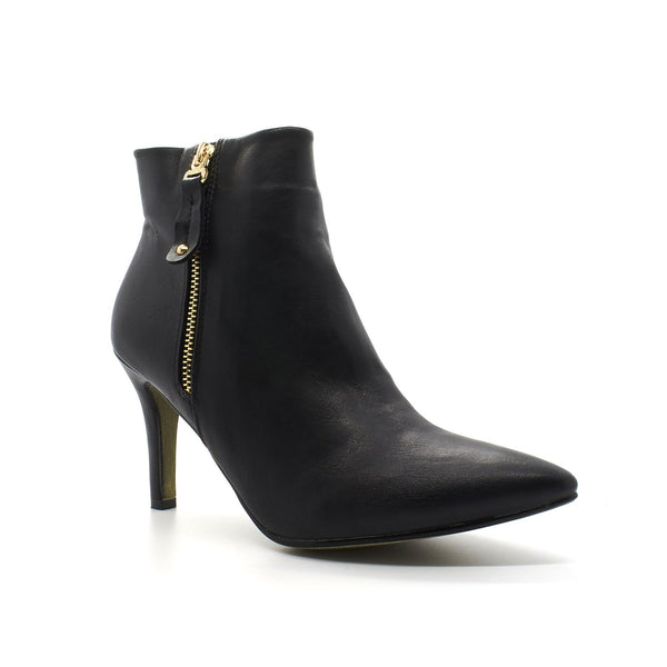 Black Faux Leather Pointed Ankle Boot