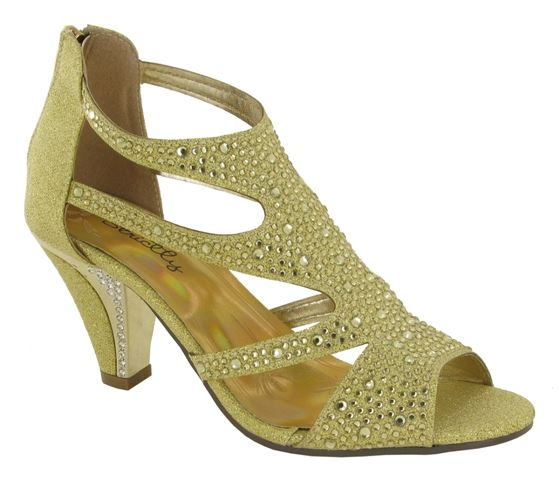 Gold Diamate Caged Heeled Sandals