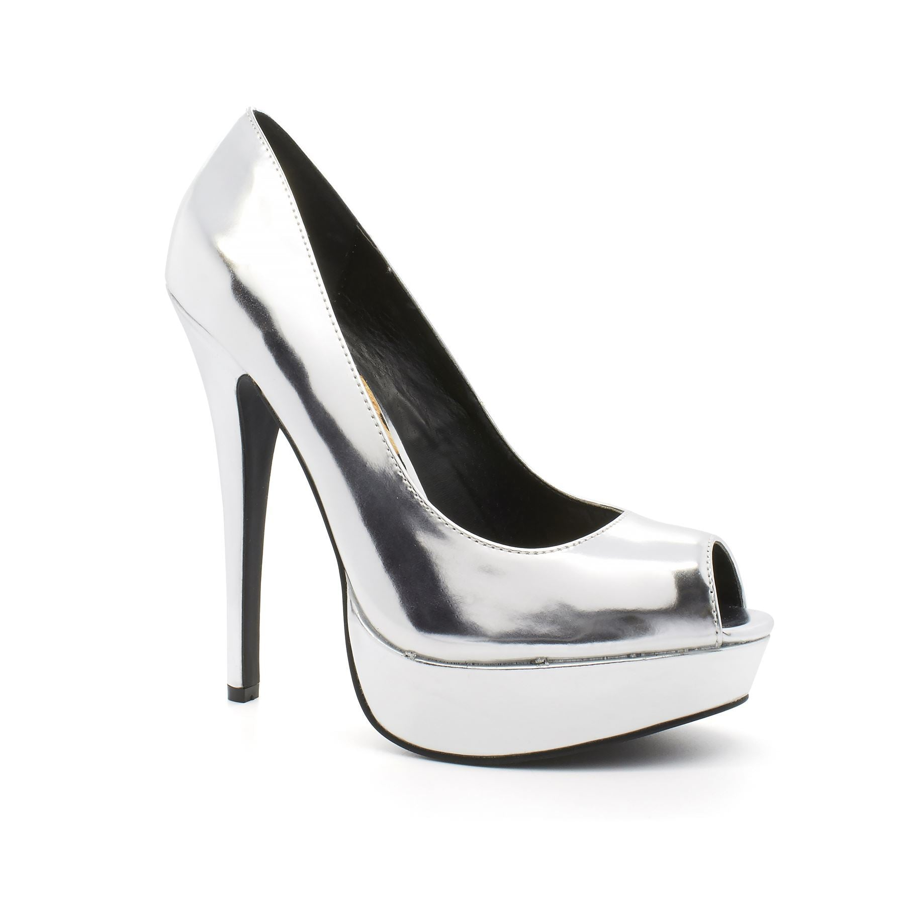 Silver Patent Peep Toe Stiletto Court