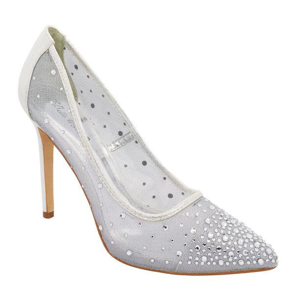 Silver Sheer Mesh Heeled Court Shoes