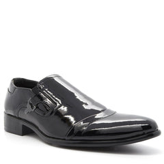 Black Buckle Detail Slip On Shoes