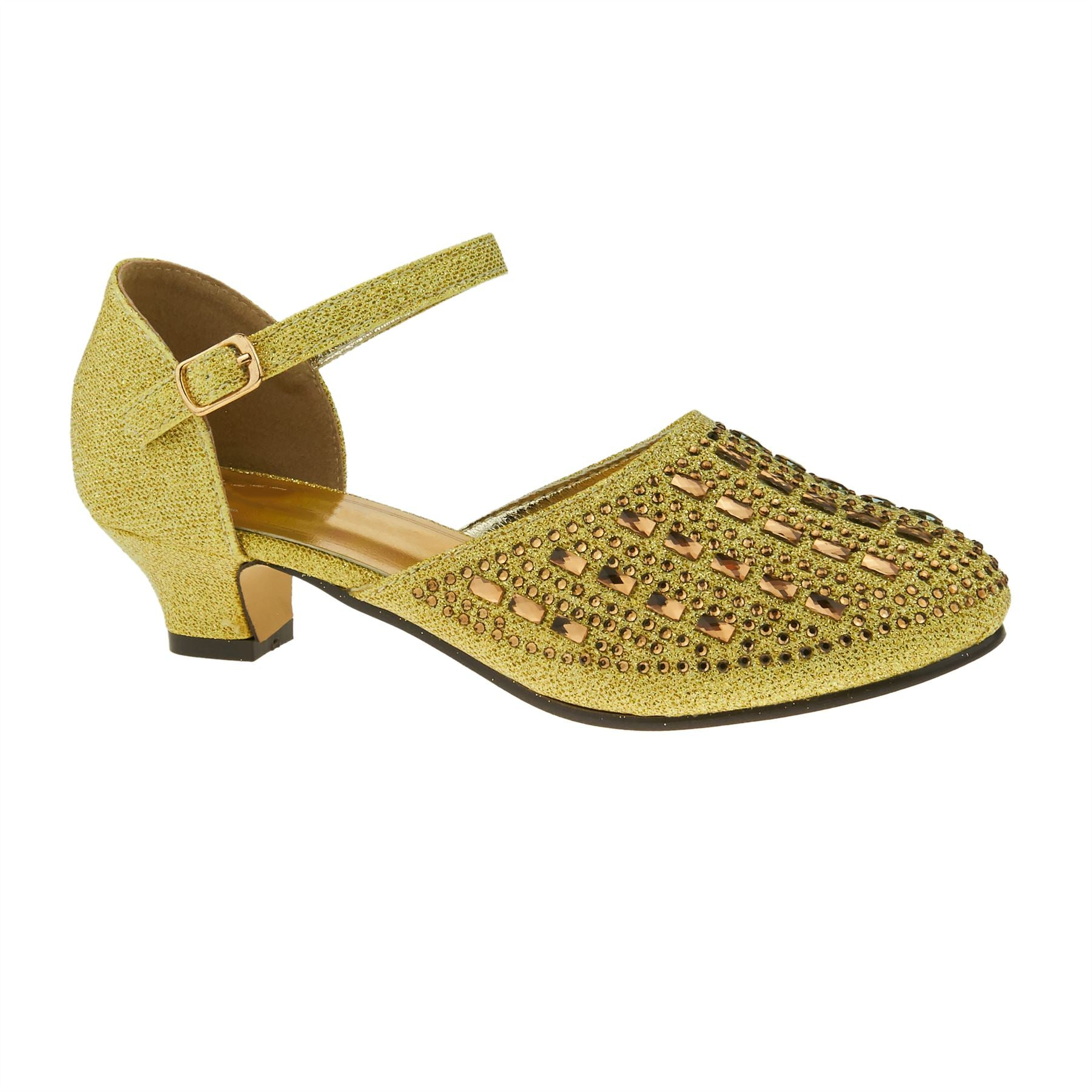 Gold Diamante Mary Janes