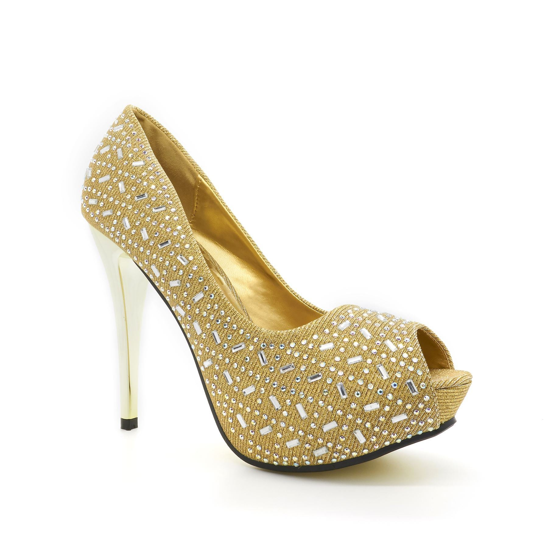 Gold Glitter Peep Toe High Heel