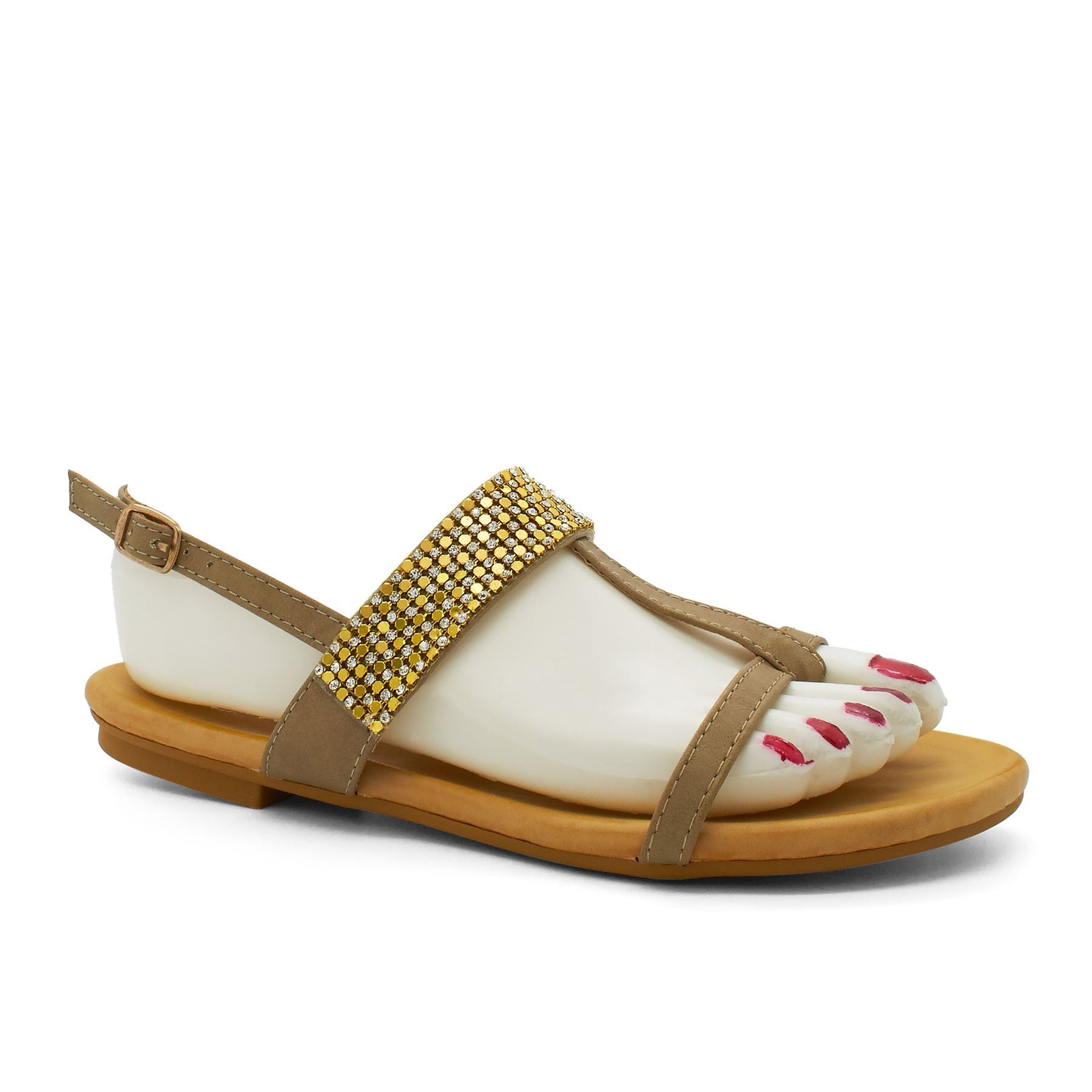 Khaki Embellished T-Bar Flat Sandals