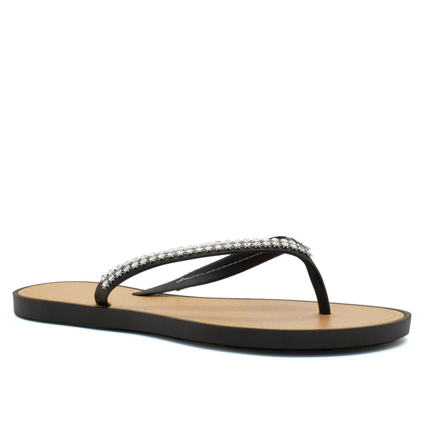 Black V Shape Diamante Flip Flops