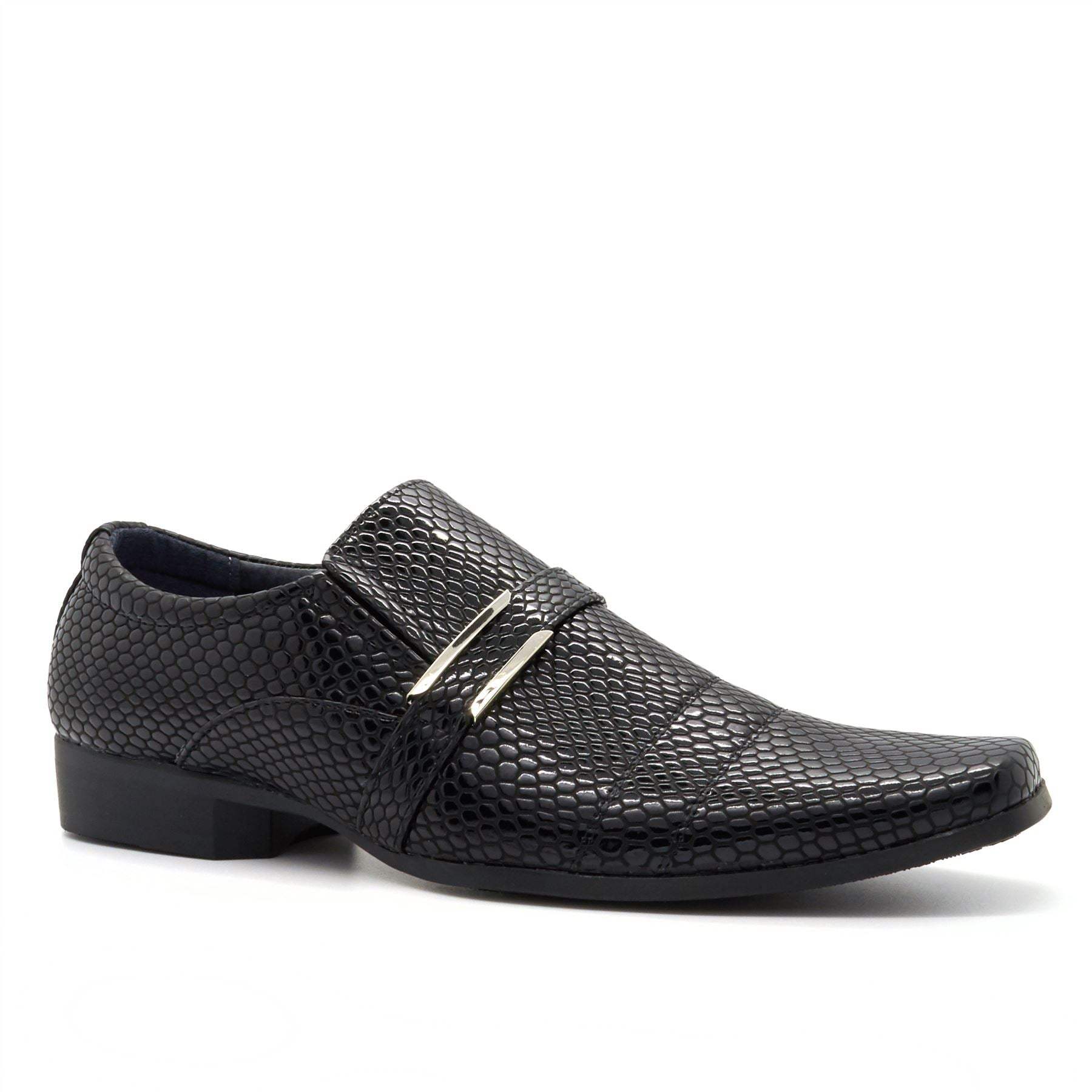 Black Moc Croc Buckle Detail Slip On Shoes
