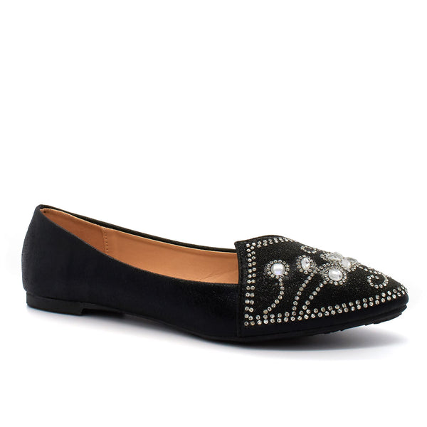 Black Diamante Ballet Flats