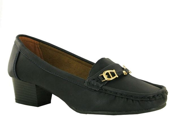 Blue Buckle Block Heeled Loafers