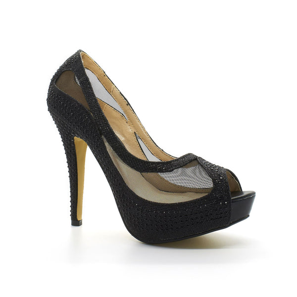 Black Diamante Mesh High Heel