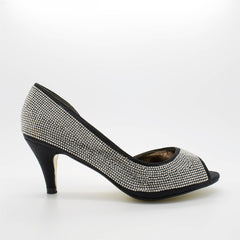 Black Diamante Cut Away Court Shoes