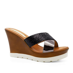 Black Cross Strap Wedge Heeled Mules