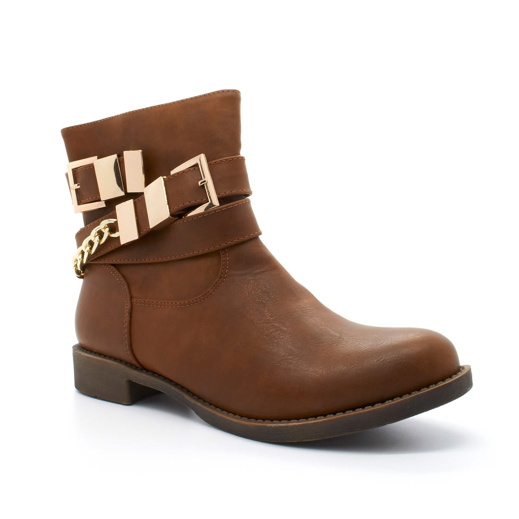 Brown Chain Strap Zip Ankle Boot