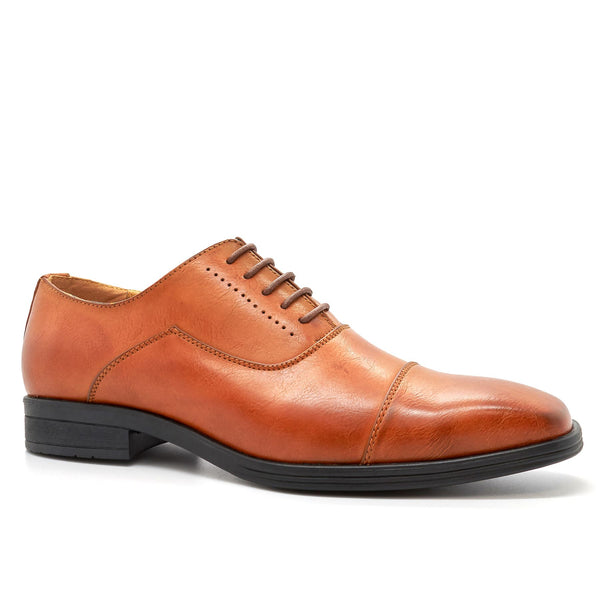 Tan Toe Cap Oxford Shoes