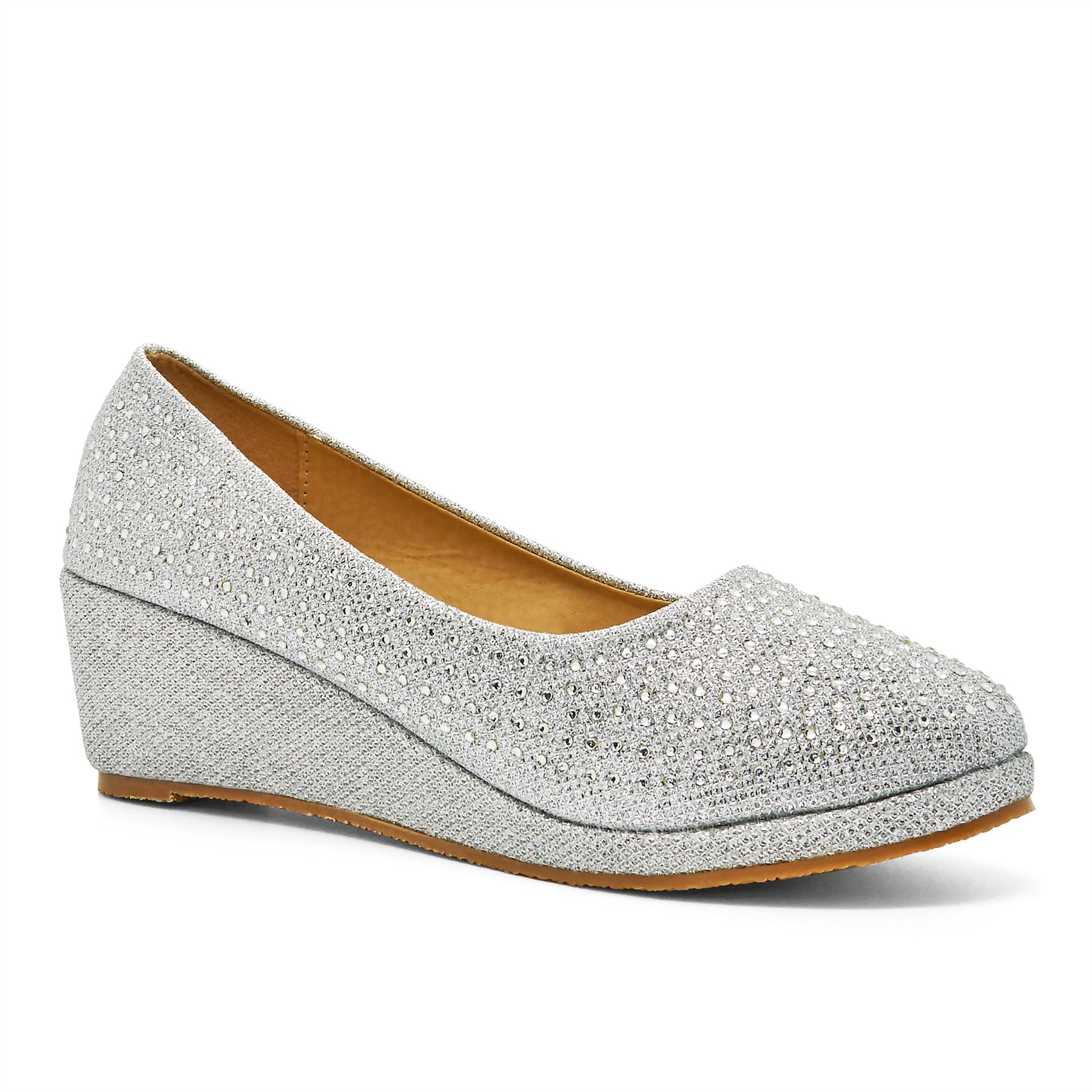 Silver Wedge Heeled Court Shoes