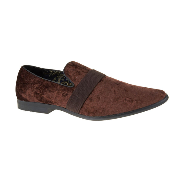 Brown Velvet Slip On Loafers