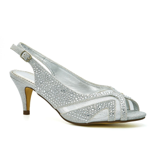 Silver Peep Toe Kitten Heeled Sandals