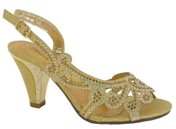 Gold Laser Cut Block Heeled Sandals