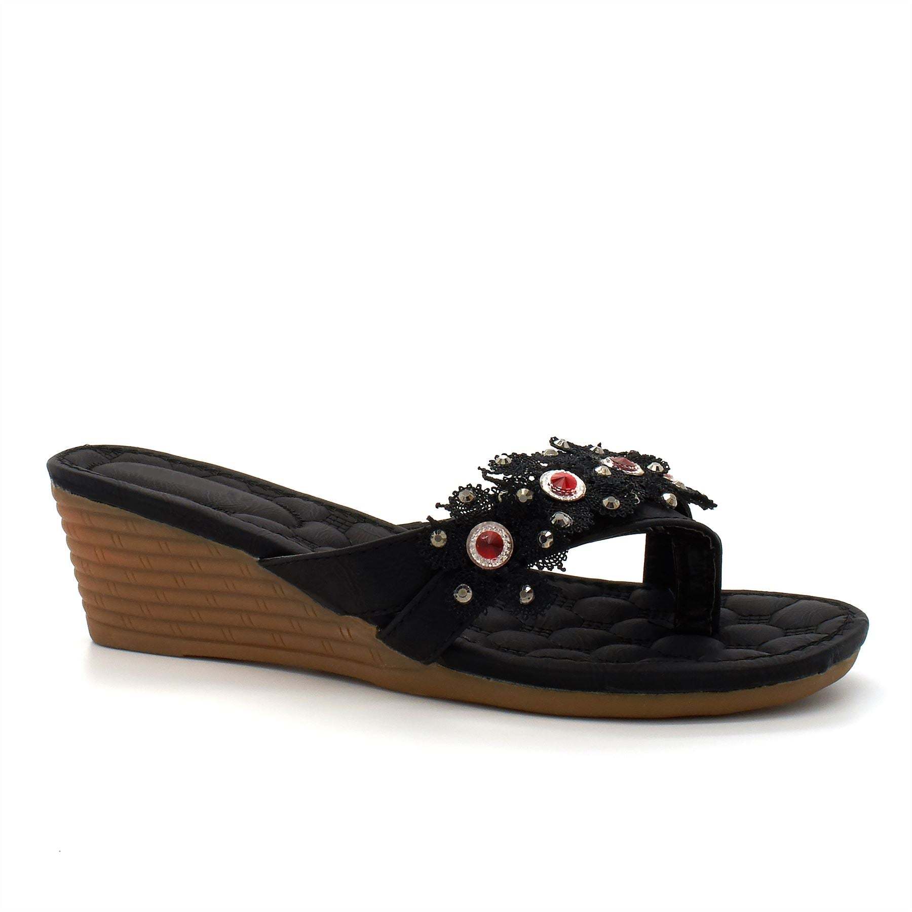 Black Flower Detail Wedge Sandals